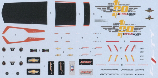 AMT 1:25 2017 Camaro Indy 500 Pace Car decals