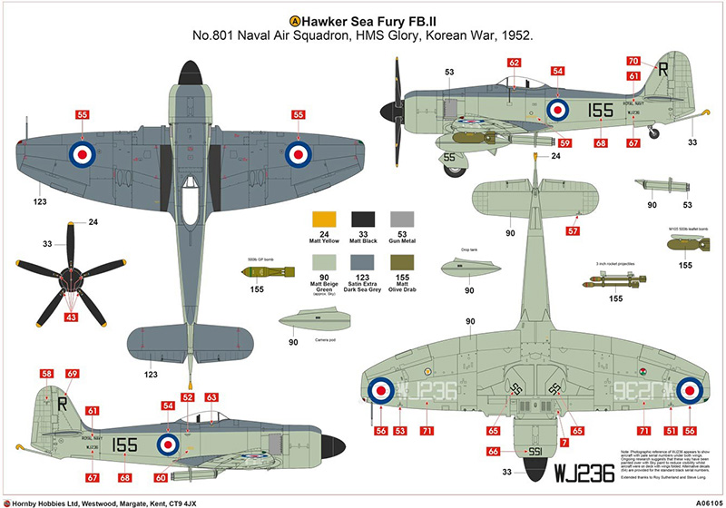 Airfix Hawker Sea Fury FB.II marking options