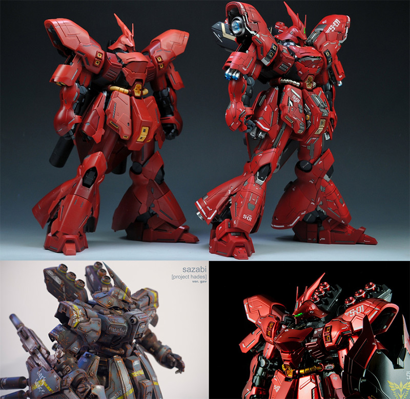 4 versions of the Sazabi
