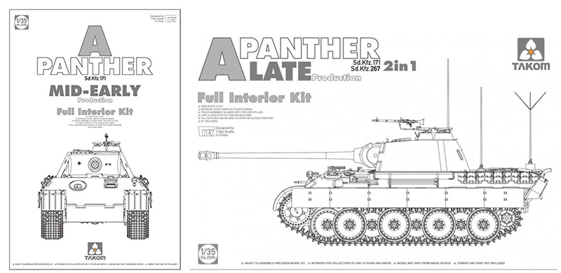 Takom 1/35 Panther Ausf A Mid-Early and Late Full Interior Kits box cover